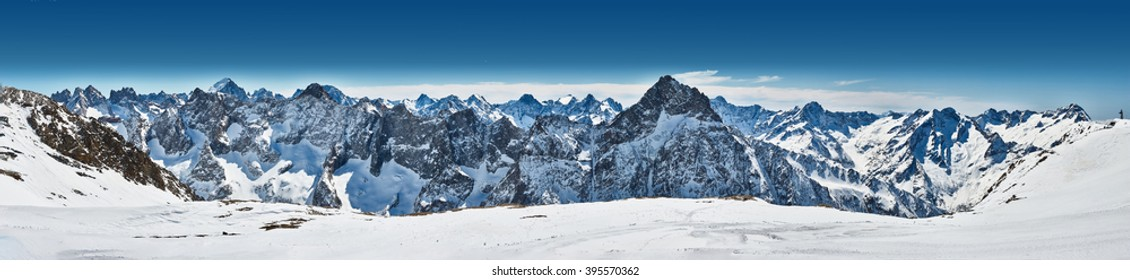 Panoramic view of the mountains. A panoramic view on Alps winter mountains, Les 2 Alpes, France