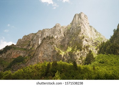 Panoramic view of the mountains of the Prokletije National Park in Montenegro. Real grain scanned film.