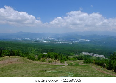 Panoramic view of mountains and skies, Kiyosato highland, Yamanashi, Japan