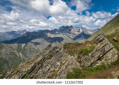 panoramic view of mountains and sky with clouds, day, summer, landscape