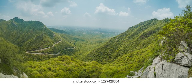 Panoramic view of mountains surrounding Islamabad, Pakistan.