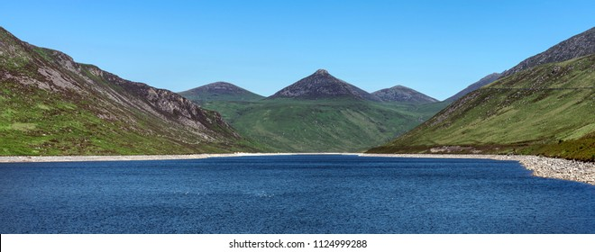 A panoramic view of the Mourne Mountains from the Silent Valley