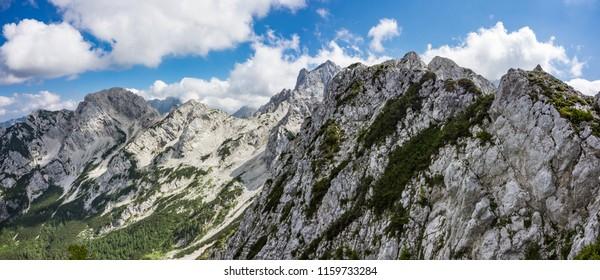 Panoramic view of Mrzla gora, Rinka and Velika Koroska Baba in Kamnik-Savinja Alps on Slovenian-Austrian border