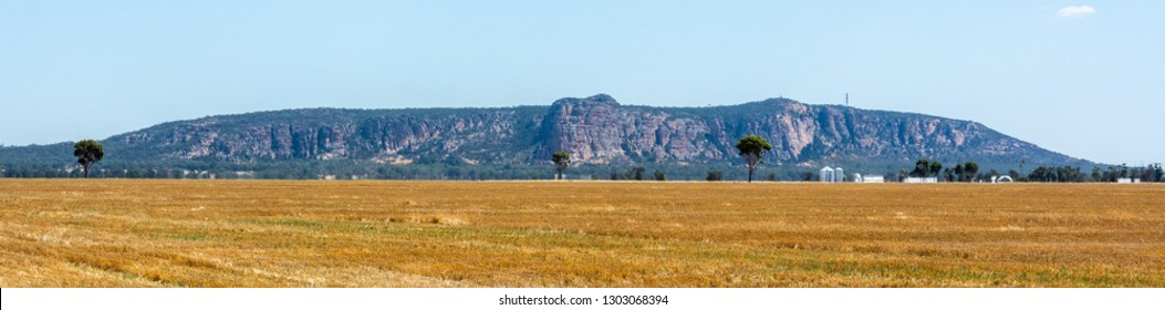 Panoramic view of Mt Arapiles in Victoria, Australia, from a distance.