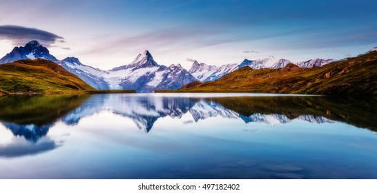 Panoramic view of the Mt. Schreckhorn and Wetterhorn. Popular tourist attraction. Dramatic and picturesque scene. Location place Bachalpsee in Swiss alps, Grindelwald valley, Europe. Beauty world. - Shutterstock ID 497182402