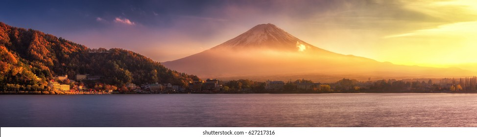 Panoramic view of Mt.Fuji before sundown in autumn at lake kawaguchiko, Japan