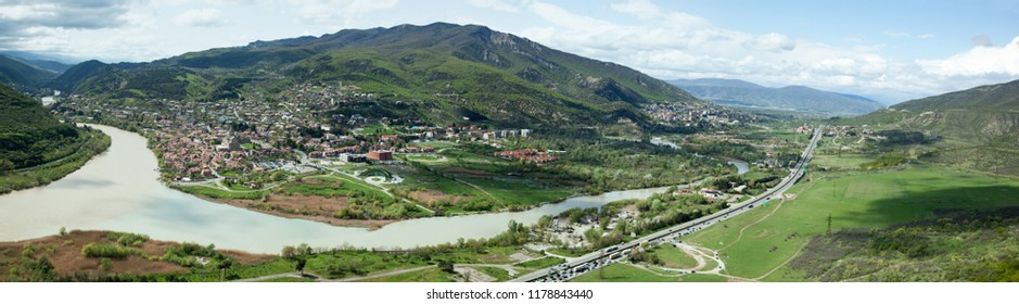 The panoramic view of Mtskheta Holy City built in 5th century at the confluence of the Kura and Aragvi rivers (Georgia).