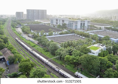 A Panoramic view of the Mumbai city skyline along with local trains,known as the lifeline of Mumbai.Image taken in Mumbai city in the state of Maharashtra,India