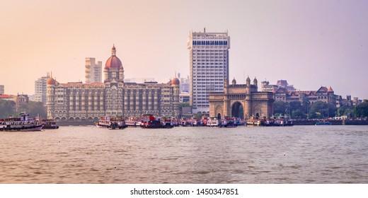 Panoramic view of Mumbai cityscape & Gateway of India from harbour at Maharashtra, India.
