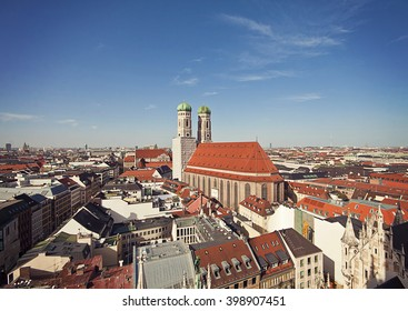 Panoramic view of Munich with Frauenkirche cathedral, symbol of the city