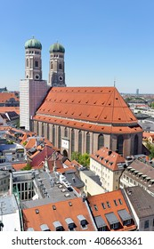 Panoramic view of Munich with Frauenkirche cathedral, symbol of the city, Germany.