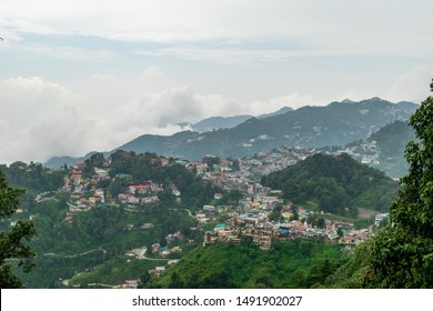 A panoramic view of the Mussoorie cityscape from Landour, Uttarakhand, India