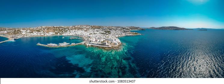 Panoramic view of Mykonos town Greece, Mykonos drone panorama