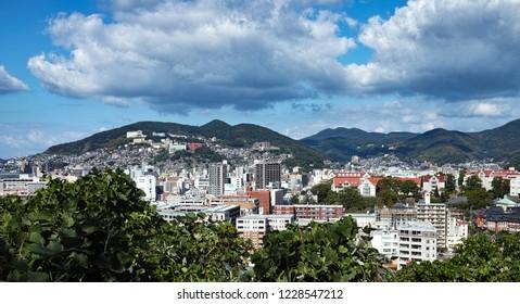 panoramic view of Nagasaki, japan from Glover garden