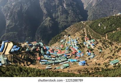 Panoramic view of Namche Bazar , Khumbu district ,Himalayas ,Nepal
