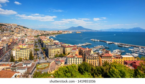 Panoramic view of Naples city, Chiaia neighborhood, Mount Vesuvius and gulf of Napoli, Mediterranean sea, Italy