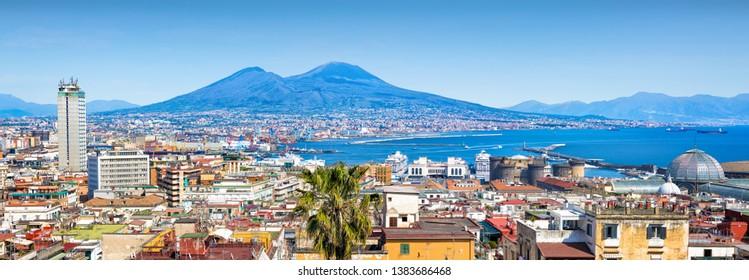 Panoramic view of Naples, sea port in Gulf of Naples and Mount Vesuvius, Campania region, Italy.