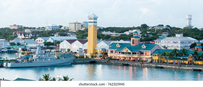 The panoramic view of Nassau city port and downtown at dusk (Bahamas).