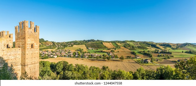 Panoramic view at the nature near Castell'Arquato and Castle of Rocca Viscontea - Italy