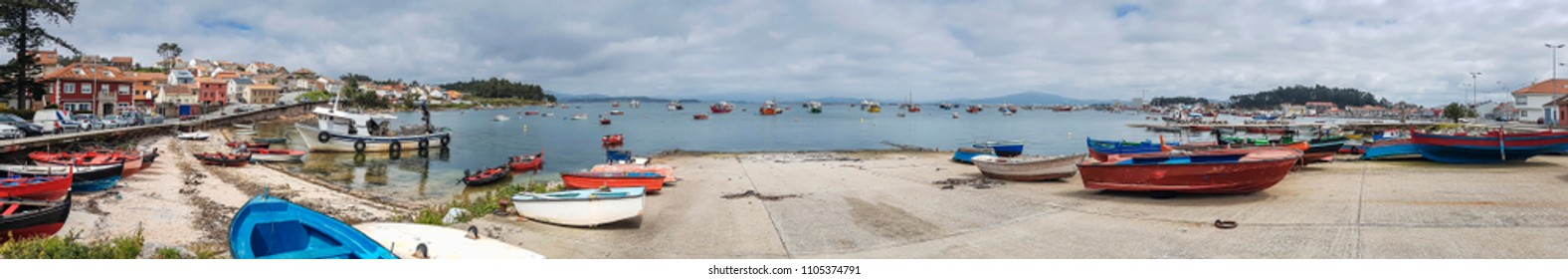 Panoramic view of Naval fishing harbor in Arousa Island