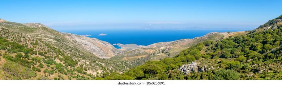 Panoramic view of Naxos island. Greece
