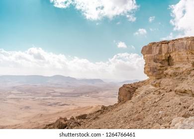 Panoramic view of  Negev Desert, Israel. Arid landscape background.
