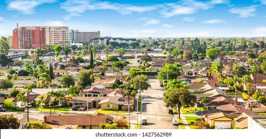 Panoramic view of a neighborhood in Anaheim, Orange County, California