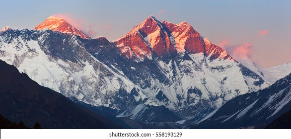 Panoramic view of Nepalese Himalayas in Solukhumbu District (Sagarmatha National Park) at sunset: Nuptse peaks, Everest, Lhotse
