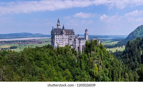 Panoramic view of the Neuschwanstein Castle, in Germany