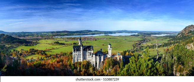 Panoramic View of Neuschwanstein Castle (Schloss)