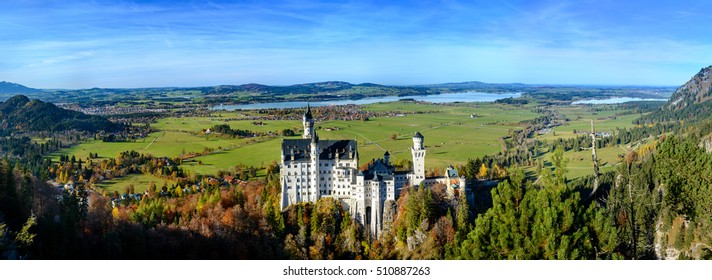 Panoramic View of Neuschwanstein Castle (Schloss), which looks like fairytale castle