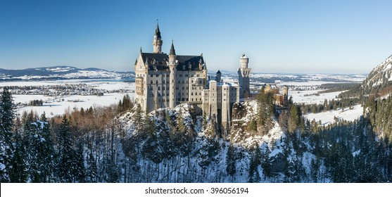 Panoramic view of Neuschwanstein Castle in the winter, Bavaria, Germany