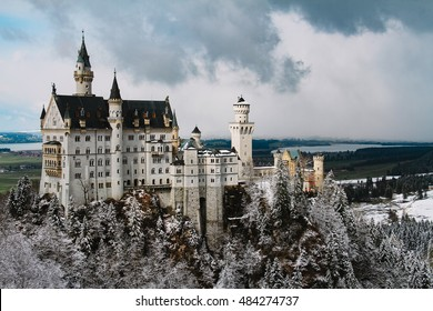 Panoramic view of Neuschwanstein Castle in the winter, Bavaria, Germany. Winter landscape