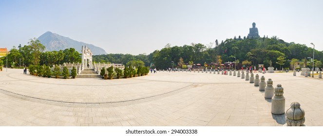 Panoramic view of Ngong Village with Giant Buddha statue, in Hong Kong China