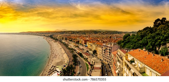 Panoramic view of Nice in the evening after sunset