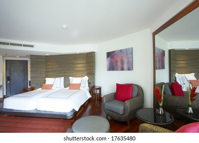 Panoramic view of nice light stylish  bedroom. Images on wall was contorted.