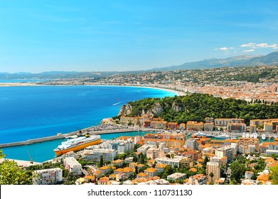 Panoramic view of Nice, mediterranean resort, Cote d'Azur, France, french riviera
