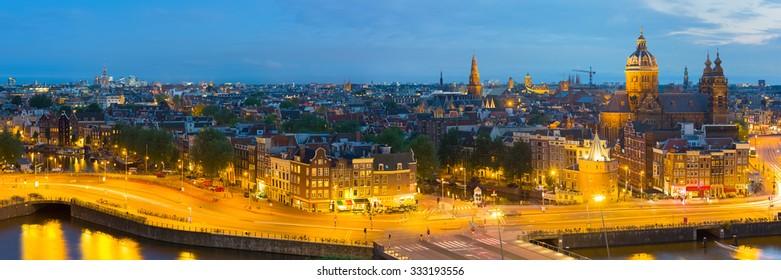 Panoramic view of night Amsterdam