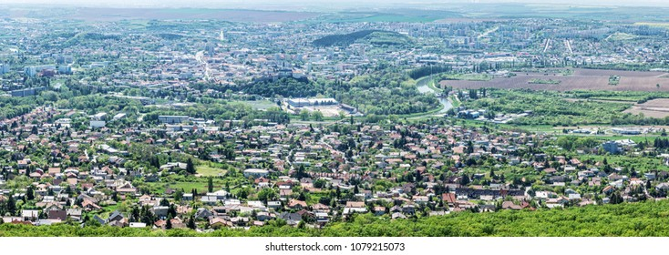 Panoramic view of the Nitra city from Zobor hill, Slovak republic. Spring time scene. Tourism theme.