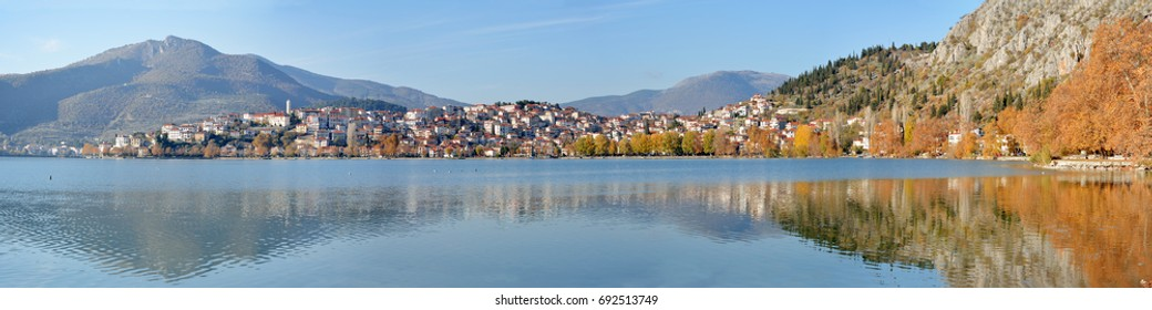 Panoramic  view of north lakeside of Kastoria city in Greece and lake Orestiada on autumn