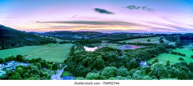 Panoramic view of North Welsh Valley at sunset.