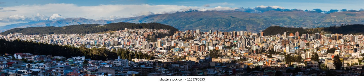 Panoramic view of the north-central part of Quito city on a late summer afternoon