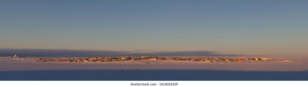 Panoramic view of a northern arctic community, Cambridge Bay, Nunavut, in late winter