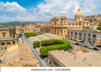 Panoramic view in Noto, with the Cathedral and the Palazzo Ducezio. Province of Siracusa, Sicily, Italy.