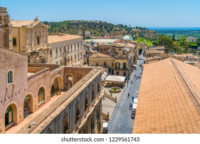 Panoramic view in Noto, with the sea in background. Province of Siracusa, Sicily, Italy.