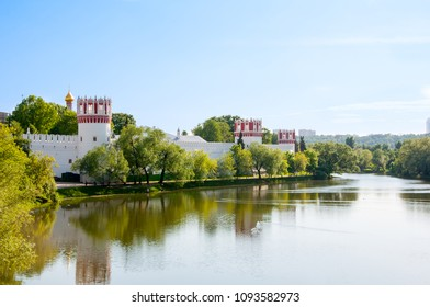 Panoramic view of the Novodevichy Convent, also Bogoroditse-Smolensky Monastery during the summer day in Moscow city centre, Russia.