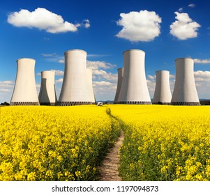 Panoramic view of Nuclear power plant Jaslovske Bohunice with golden flowering field of rapeseed, canola or colza - Slovakia - two possibility for production of electric energy