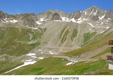 Panoramic view from the Nufenen Pass with the Mittaghorn (centre) and the Punta Gallina (right) in the Southern Swiss Alps