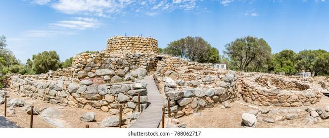 Panoramic view of Nuraghe la Prisgiona archeological site, Sardinia, Italy