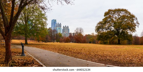 Panoramic view of the Oak Hill in the Piedmont Park and Midtown Atlanta behind it in autumn day, USA